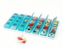 Organizador de la píldora, visión amplia Foto de archivo libre de regalías