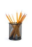 Organizador del escritorio con los lápices Imagen de archivo libre de regalías