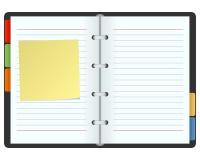 Organizador en blanco con el post-it Fotos de archivo libres de regalías