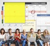 Organizador Note Concept del planeamiento del planificador del calendario Foto de archivo libre de regalías