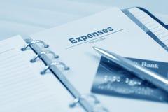 Organizador, pena e cartão de crédito abertos Imagem de Stock