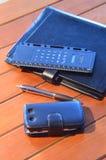 Organizador, pena e telefone celular Imagem de Stock Royalty Free
