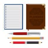Organizador, planificador, pluma y pensil Fotografía de archivo
