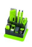 Organizador verde del escritorio Imagenes de archivo