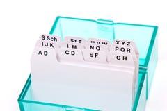 Organizador verde por las cartas Imagen de archivo