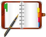 Organizador y pluma Fotos de archivo