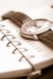 Organizador y reloj personales Fotos de archivo libres de regalías