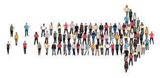 Organizati för teamwork för lag för framgång för grupp människorriktningspil Arkivfoton