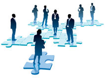 Organization. People are standing on pieces of jigsaw puzzle Royalty Free Stock Images
