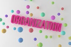 Organization, business conceptual colorful 3D rendered words. Creativity, digital, communication & artwork. Organization, business conceptual colorful 3D royalty free illustration