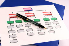 Organization Chart 1. Colorful organization chart with pen stock photo