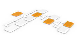 Organization Chart. Side view, orange and white Stock Photography