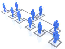 Organization chart. Blue group of people standing on the organization chart Royalty Free Stock Image