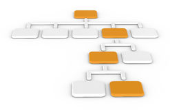 Organization chart, Orange. Standard organization chart, Orange and white Stock Photo