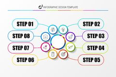 Organization chart with 8 steps. Infographic design template. Vector illustration royalty free illustration