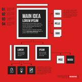 Organization chart template with geometric elements on bright red background. Useful for science and business presentations Stock Photos