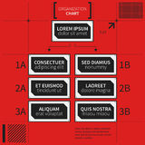 Organization chart template with geometric elements on bright red background. Useful for science and business presentations Stock Photo