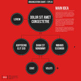 Organization chart template with geometric elements on bright red background. Useful for science and business presentations Royalty Free Stock Images