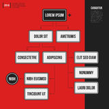 Organization chart template with geometric elements on bright red background. Useful for science and business presentations Royalty Free Stock Photography