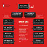 Organization chart template with geometric elements on bright red background. Useful for science and business presentations Royalty Free Stock Photo
