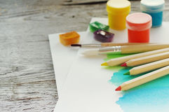 Organization of creative process. Drawing accessories. Royalty Free Stock Photos