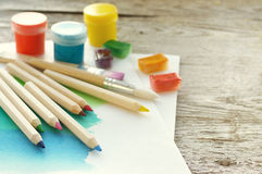 Organization of creative process. Drawing accessories. Royalty Free Stock Photography