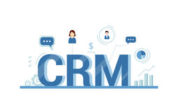 Organization of data on work with clients, CRM concept. Customer Relationship Management  illustration. Royalty Free Stock Image