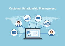 Organization of data on work with clients, CRM concept. Customer Relationship Management illustration. CRM concept design with elements. Flat icons of royalty free illustration