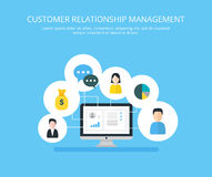 Organization of data on work with clients, CRM concept. Customer Relationship Management  illustration. Stock Images