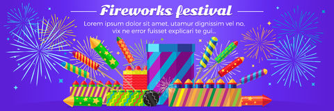 Organization of Fireworks Festival. Pyrotechnic Set. Organization of fireworks festival. Set of different kinds of amazing fireworks vector illustrasion Royalty Free Stock Photo