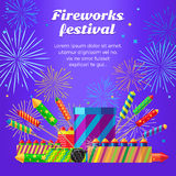 Organization of Fireworks Festival. Pyrotechnic Set. Organization of fireworks festival. Set of different kinds of amazing fireworks vector illustrasion Stock Photos