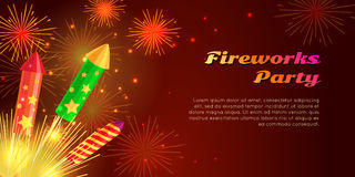 Organization of Fireworks Party. Pyrotechnic Set. Fireworks party web banner vector illustration. Organization of fireworks festivals with different kinds of Stock Image