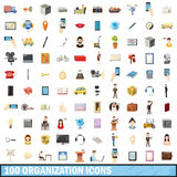 100 organization icons set, cartoon style. 100 organization icons set in cartoon style for any design vector illustration Stock Images