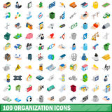 100 organization icons set, isometric 3d style. 100 organization icons set in isometric 3d style for any design vector illustration stock illustration
