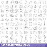 100 organization icons set, outline style. 100 organization icons set in outline style for any design vector illustration stock illustration