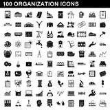 100 organization icons set, simple style Royalty Free Stock Photos