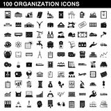 100 organization icons set, simple style. 100 organization icons set in simple style for any design illustration royalty free illustration
