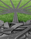 Organization and Management. With a group of tangled confused roads and highways and a single street emerging into an organized team order of paths going in a Stock Photos
