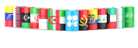 Organization Of The Petroleum Exporting Countries flags and oil. Organization Of The Petroleum Exporting Countries flags  wrapped in 3d oil barrel standing in a Stock Photography