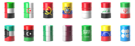 Organization Of The Petroleum Exporting Countries flags. Wrapped in 3d oil barrel Stock Illustration