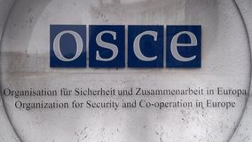 Organization for Security and Co-operation in Europe logo OSCE Hofburg Vienna stock footage