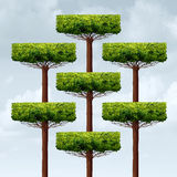 Organization Structure Growth. As a group of organized growing trees in a business structure as a financial corporate metaphor for networking assembly in a 3D Royalty Free Stock Photos