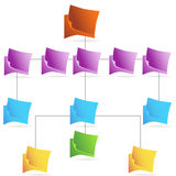 Organizational Chart - document. 3D business model diagram in document folder style Stock Photo