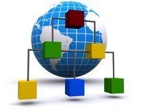 Organizational chart & globe Stock Photography