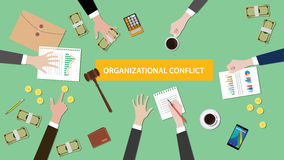 Organizational conflict situation illustration with people discuss in a meeting with paperworks, money and folder. Document on top of table vector Royalty Free Stock Photos