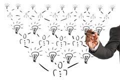 Organizational pyramidal chart of a company Stock Image