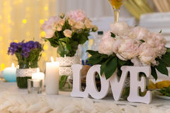Organizations invited, love letters. Organization of the wedding celebration, decoration and Romance Stock Image
