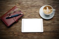 Organizator, pastylka, szkła i filiżanka cappuccino, Obrazy Stock