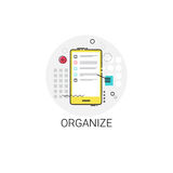 Organize Application Organizer Cell Smart Phone Icon. Vector Illustration Stock Photos