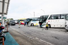 Tokyo, Japan - October 6, 2018: organize bus stops for those who wants to go to restroom or buy some snack before going to Mount F royalty free stock photography